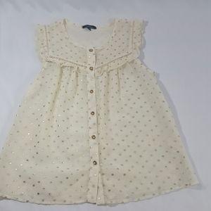 Monteau Cream Gold Polka Dot Babydoll Shirt